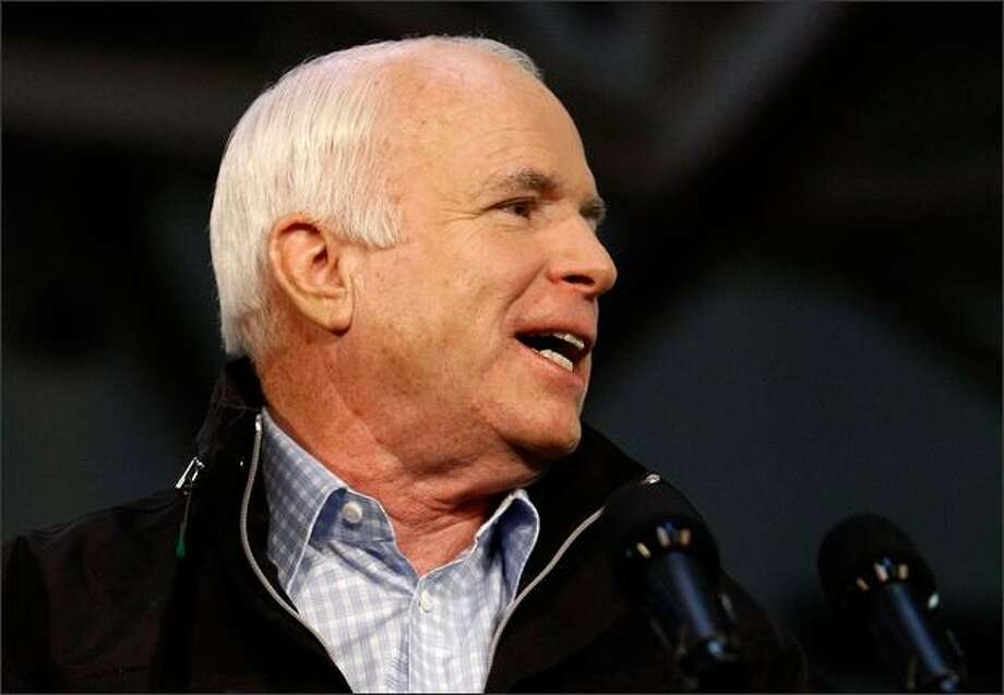 Republican presidential nominee Sen. John McCain (R-AZ) addresses a 2008 campaign rally at The Long John Center on the campus of the University of Scranton on Sunday in Scranton, Pennsylvania. He was a Vietnam War hero, and a model of comity in politics. Photo: Getty Images