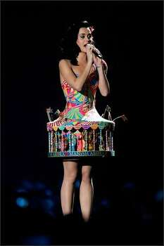 Katy Perry performs in a calliope outfit. Photo: Getty Images
