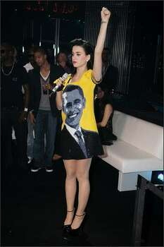Katy Perry shows off her Barack Obama outfit. Photo: Getty Images