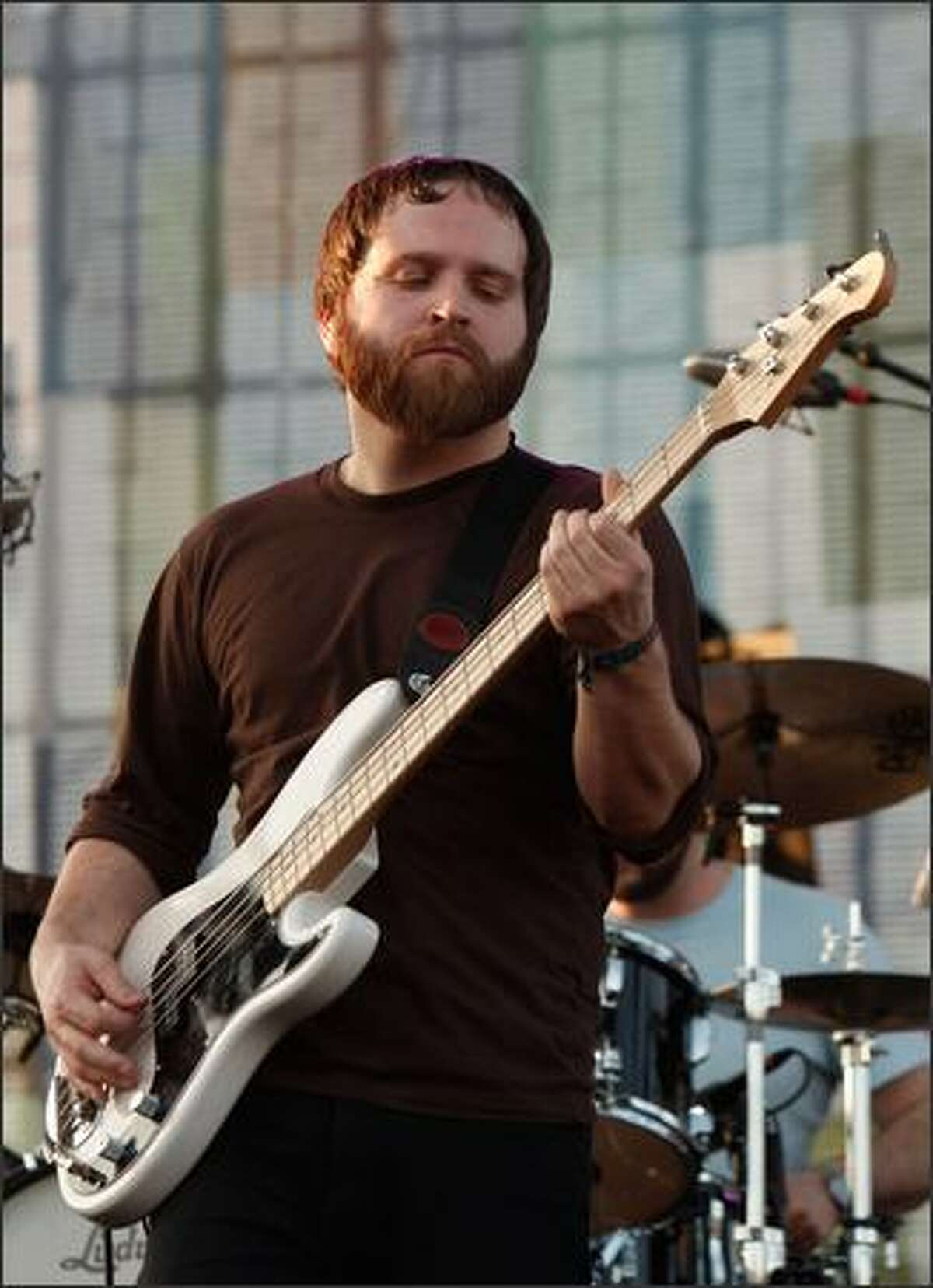 INDIO, CA - APRIL 26: Musician Nick Harmer from the band Death Cab for Cutie performs during day 2 of the Coachella Valley Music And Arts Festival held at the Empire Polo Field on April 26, 2008 in Indio, California.