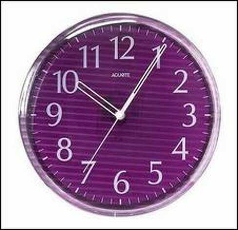 This clock sells for $28.85 at The Purple Store. Photo: /