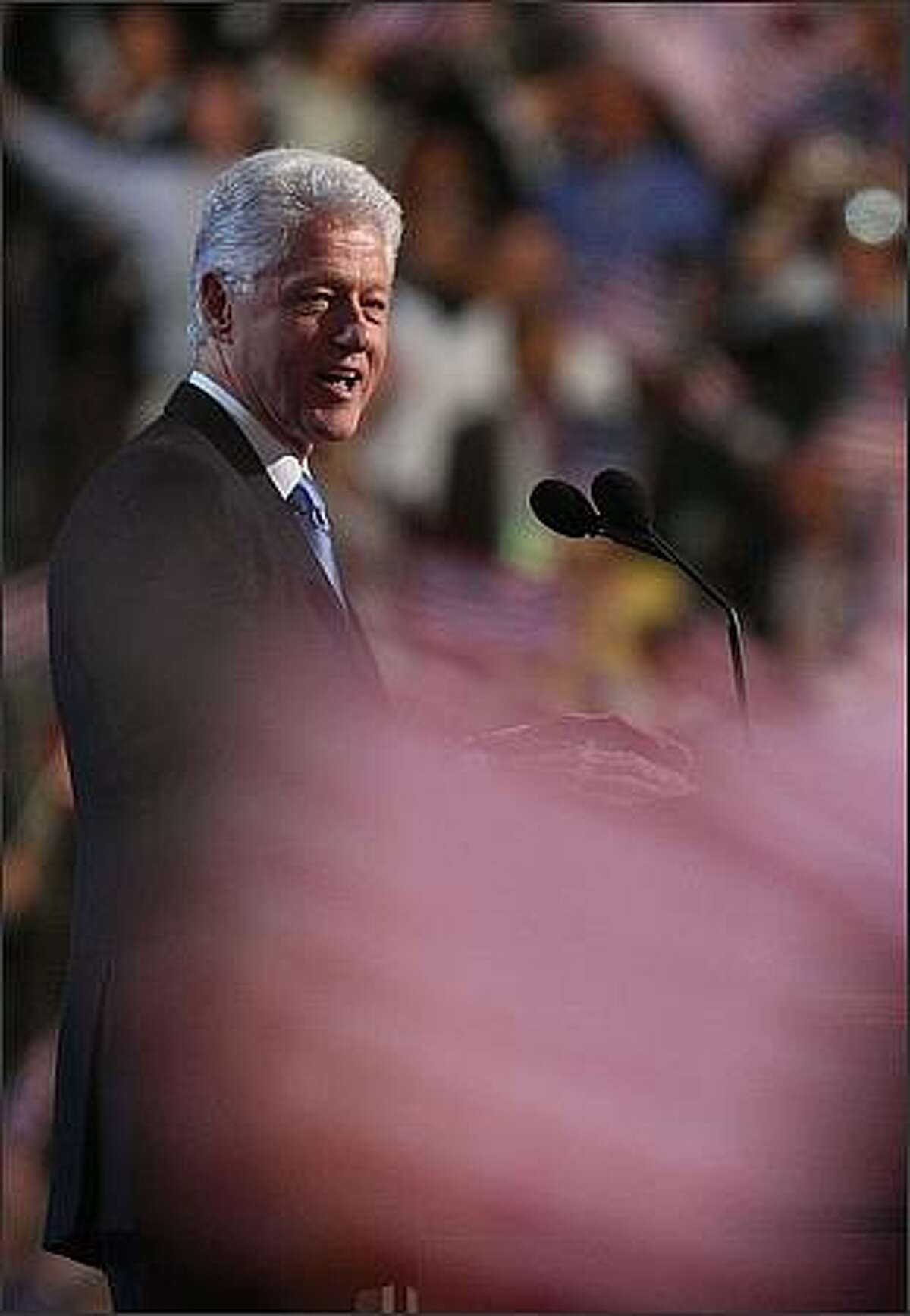 Former U.S. President Bill Clinton speaks during day three of the Democratic National Convention (DNC) at the Pepsi Center in Denver, Colorado. U.S. Sen. Barack Obama (D-IL) will be officially be nominated as the Democratic candidate for U.S. president on the last day of the four-day convention.