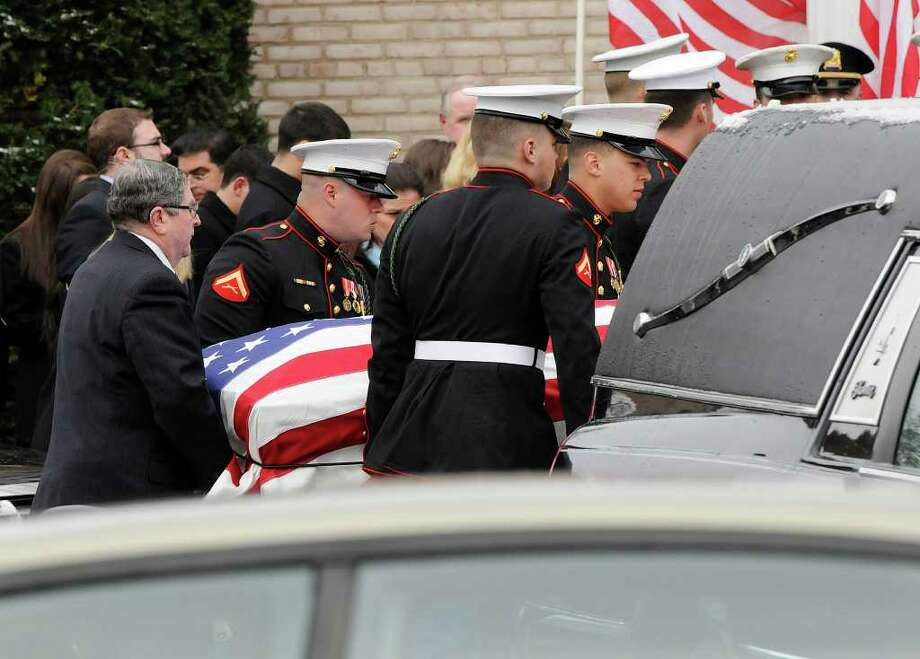 Mourners gather for the funeral of Lance Cpl. Joseph Schiano, 23, at St. Catherine of Siena church in  Riverside, CT on Thursday March 24, 2011. Schiano had served in the Marines for four years and did two tours of duty in Afghanistan. He died Sunday in a motor vehicle accident in Somers, NY. Photo: Shelley Cryan / Shelley Cryan freelance; Greenwich Time freelance