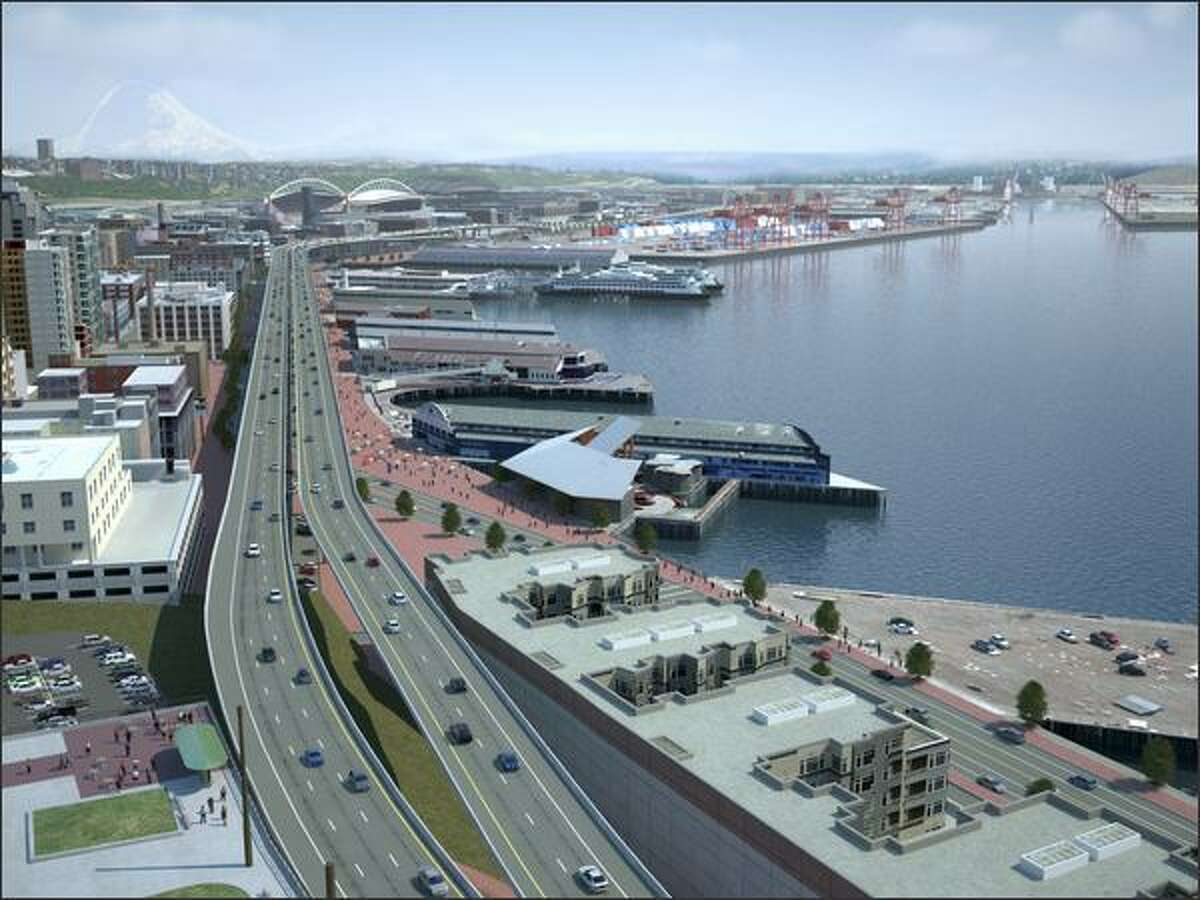 Scenario D -- elevated. In this scenario state Route 99 would run along the waterfront on two independent bridge structures, side by side, with two lanes in each direction.