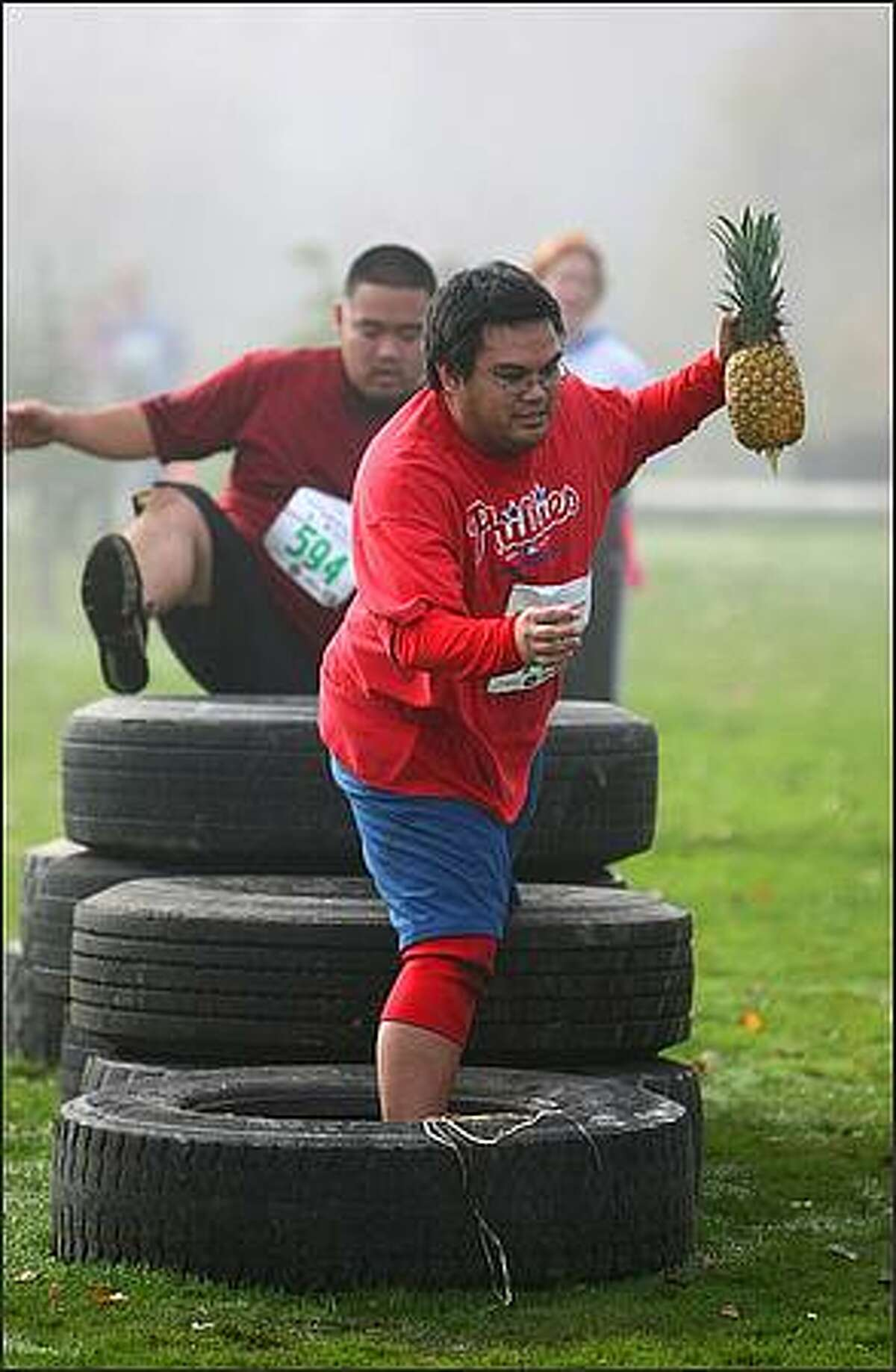 Max Cerezo makes his way over an obstacle during The Winter Pineapple Classic.