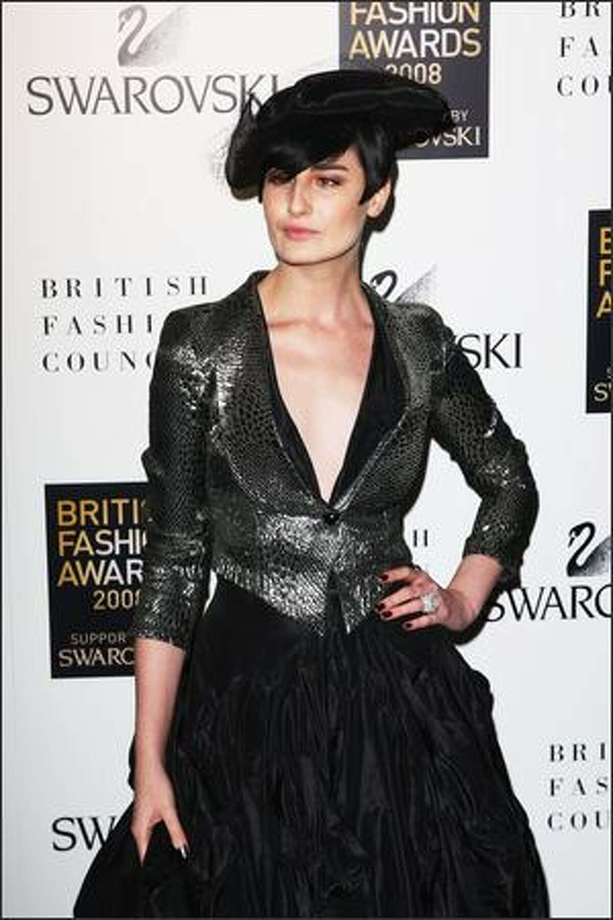 Model Erin O'Connor attends the British Fashion Awards 2008 held at The Lawrence Hall in London, England.