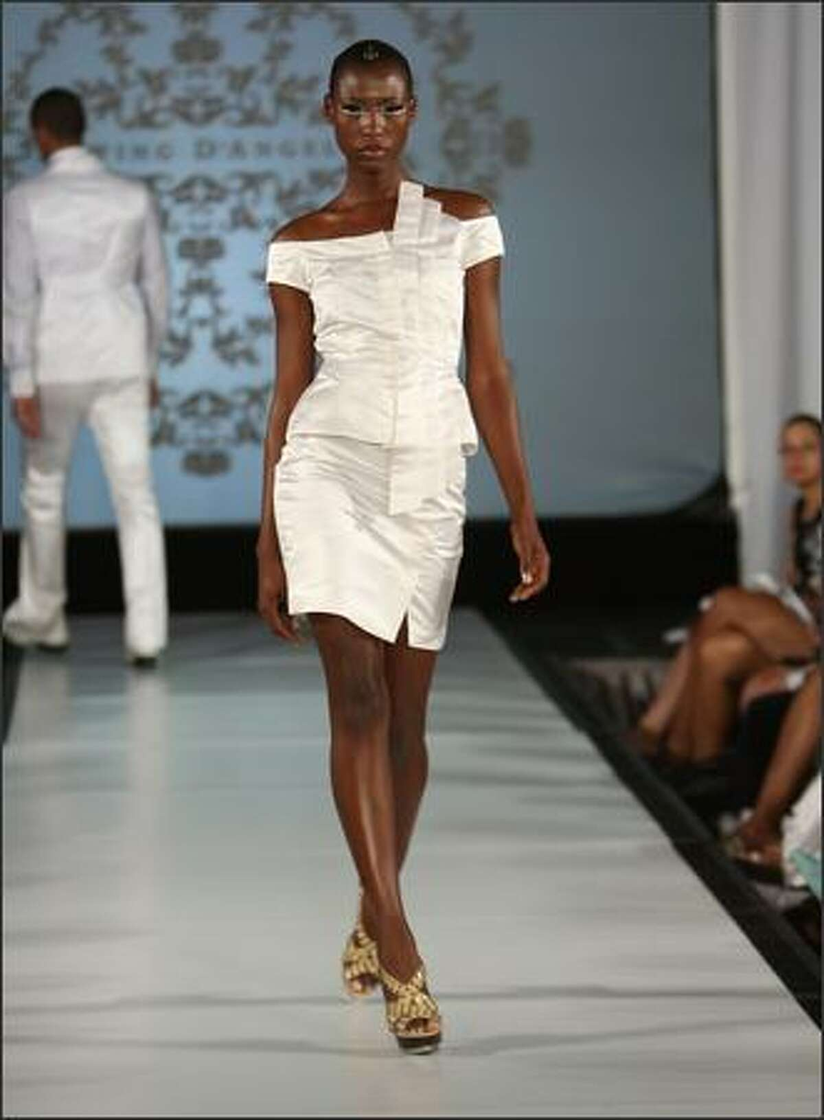 A model walks the runway during the Edwing D'Angelo show.