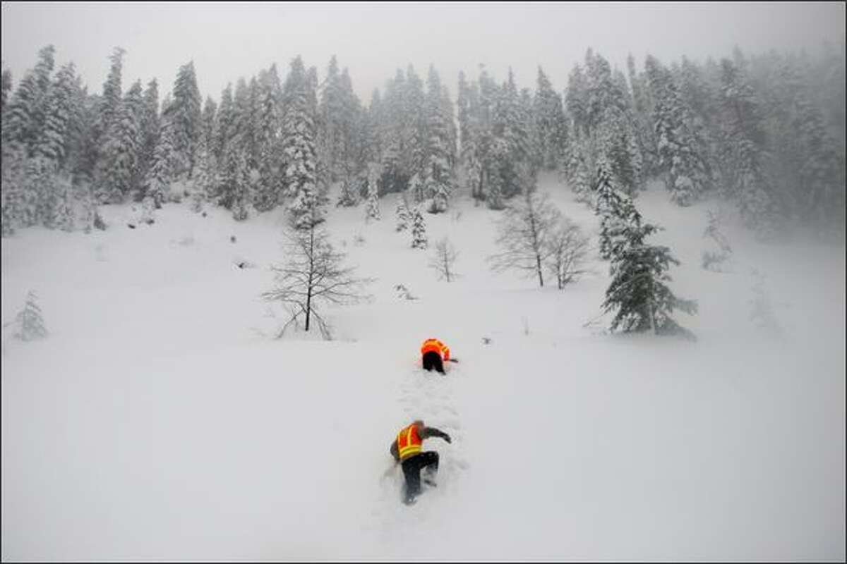 File photo: Washington Department of Transportation avalanche forecasters Craig Wilbour, top, and Scott Williams head up to untouched snow above I-90 to dig a snow pit in order to analyze the snow pack and assess avalanche risk at Snoqualmie Pass.