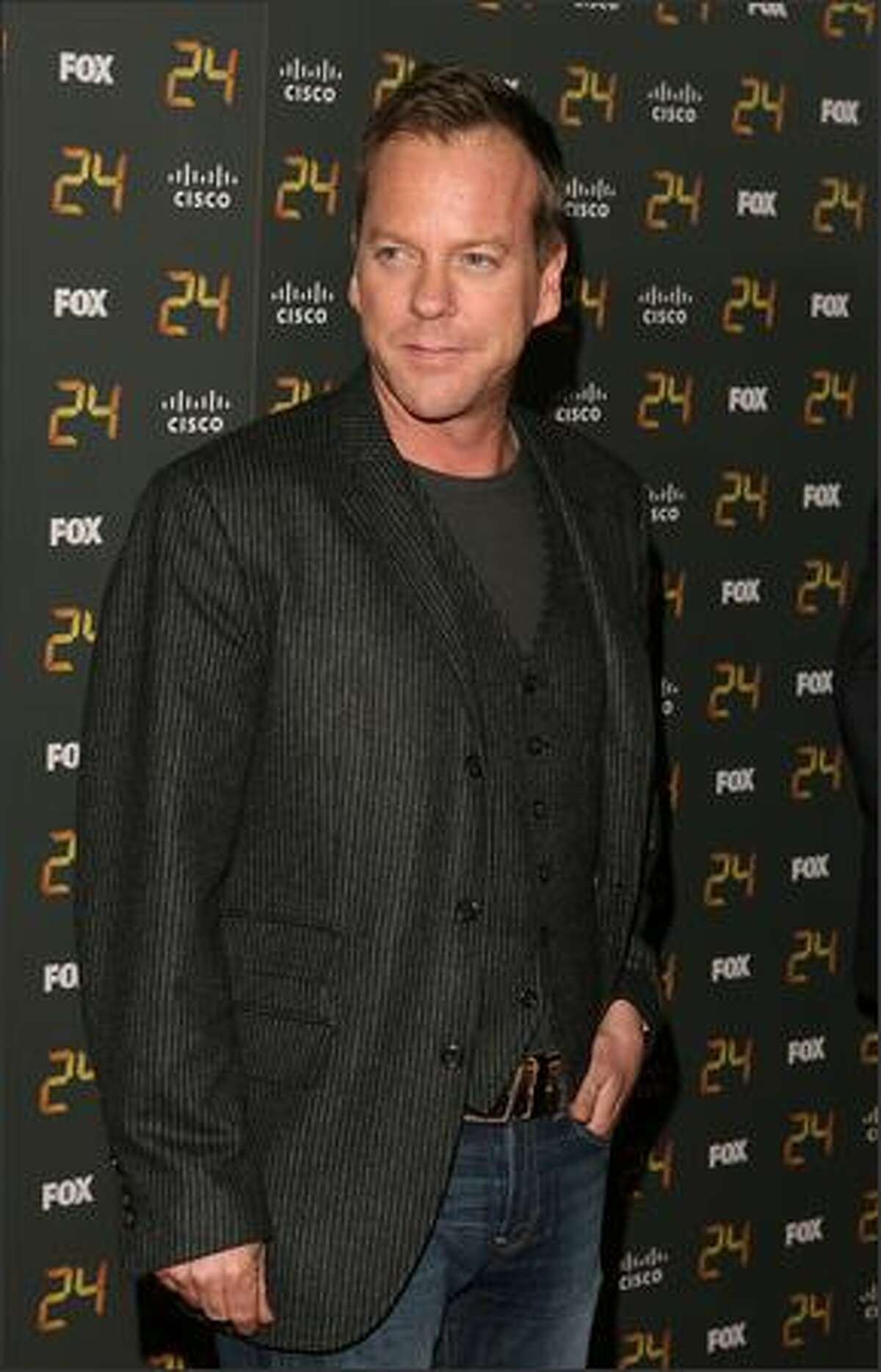 Actor Kiefer Sutherland arrives at the