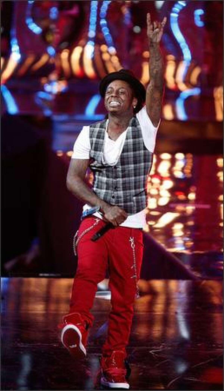 Rapper Lil Wayne performs.