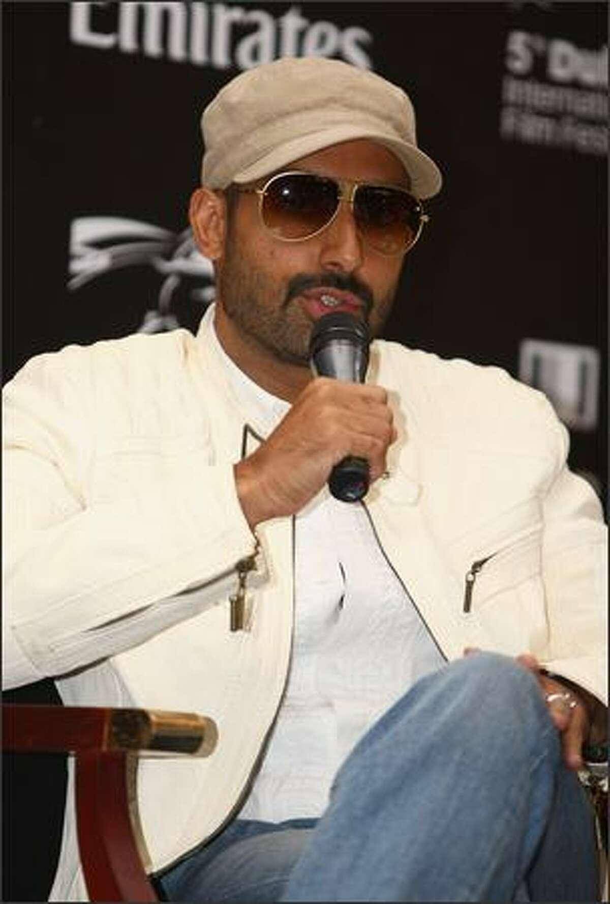 Actor Abhishek Bachchan speaks during the