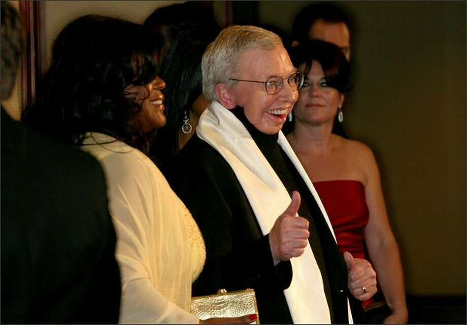 Film critic Roger Ebert arrives. Photo: Getty Images