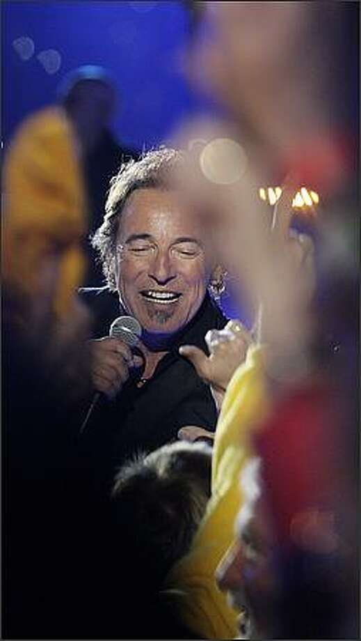 Bruce Springsteen performs during the halftime of the NFL Super Bowl XLIII. (AP Photo/David J. Phillip)