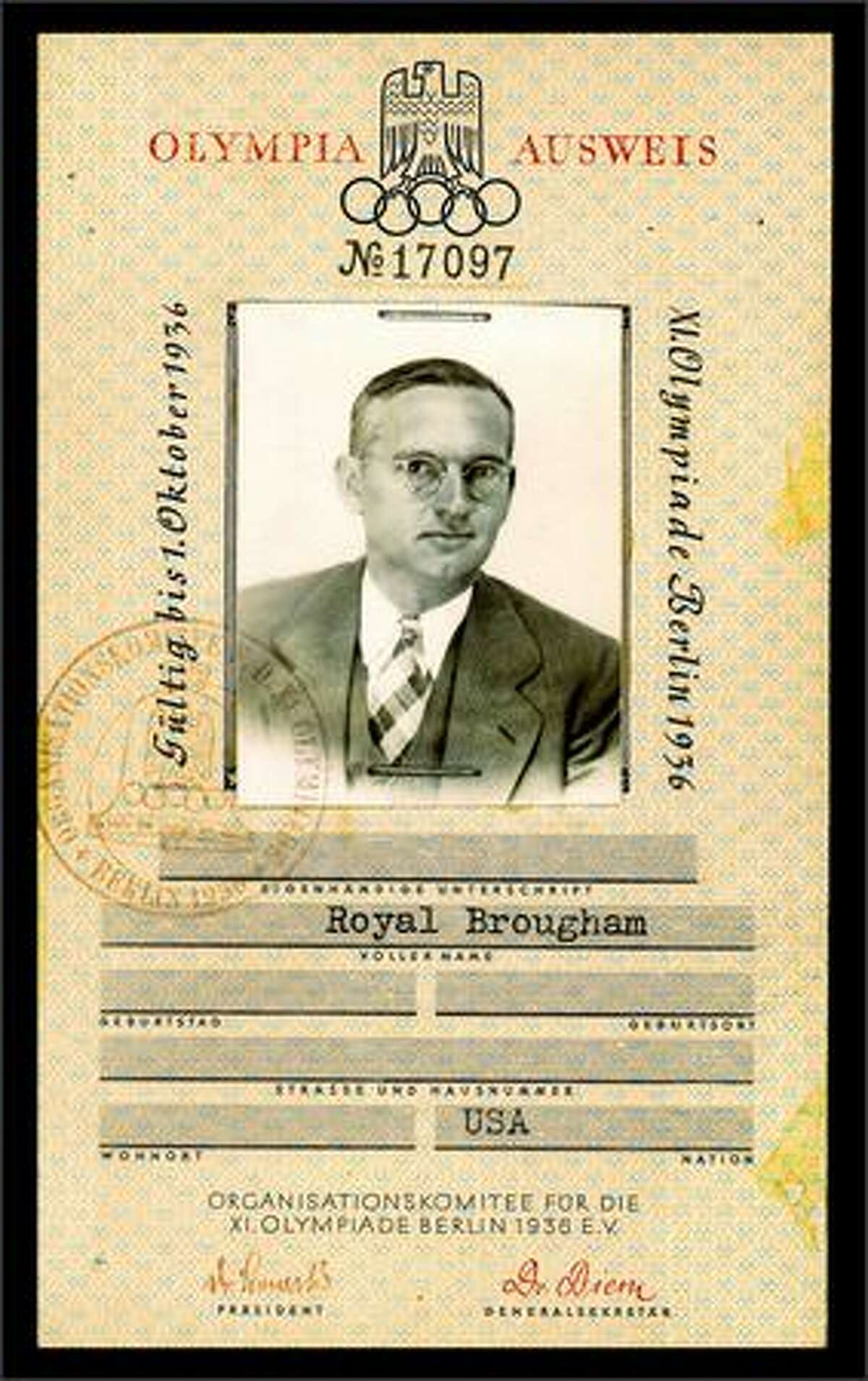 Royal Brougham's credentials for coverage of the historic 1936 Olympic games.