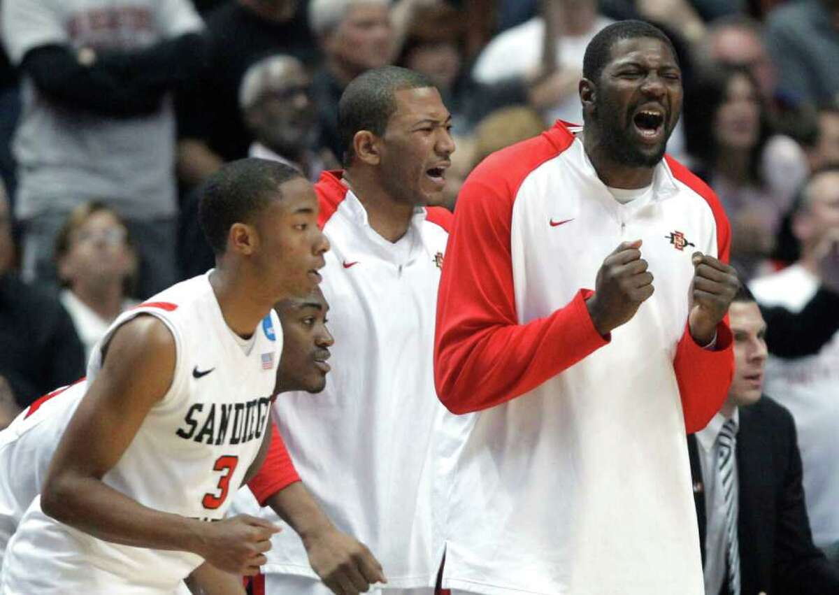 San Diego State's bench reacts during the second half of a West regional semifinal against Connecticut in the NCAA college basketball tournament Thursday, March 24, 2011, in Anaheim, Calif. (AP Photo/Jae C. Hong)
