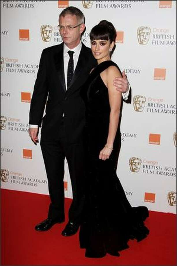 Stephen Daldry and Penelope Cruz attend The Orange British Academy Film Awards at the Royal Opera House, Covent Garden, on Sunday in London. Photo: Getty Images