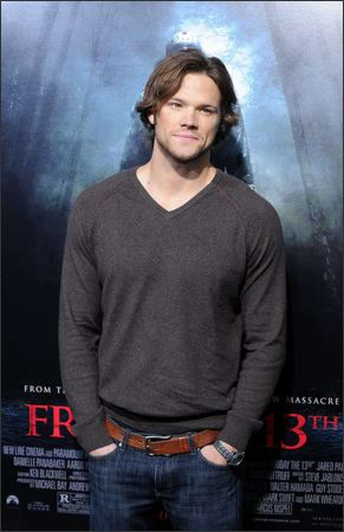 """Cast member Jared Padalecki arrives on the red carpet for the Los Angeles premiere of """"Friday The 13th"""" at the Grauman's Chinese Theater in Los Angeles on Monday."""