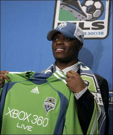 Steve Zakuani, picked by the Sounders FC in the Major League Soccer SuperDraft on Thursday, scored 20 goals with seven assists for the University of Akron last season. Photo: Jeff Roberson/Associated Press