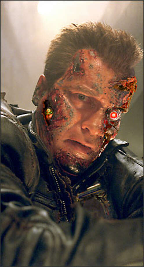 Inevitably, the Arnold Terminator got damaged, but fought on. Photo: Warner Brothers