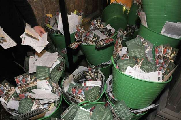 Buckets of postcards are stacked up outside Governor Cuomo's office after the cards were  delivered to the Capitol in Albany, NY on Thursday, March 24, 2011.  The postcards were sent in by New Yorkers who were asking the Governor restore his spending cuts for education.   (Paul Buckowski / Times Union) Photo: Paul Buckowski