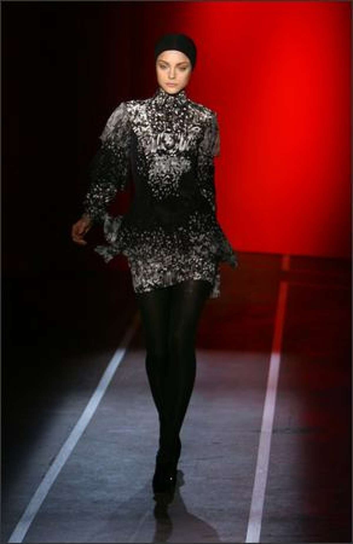 A model walks the runway at the Jonathan Saunders Fall 2009 fashion show during Mercedes-Benz Fashion Week at Skyline in New York City.