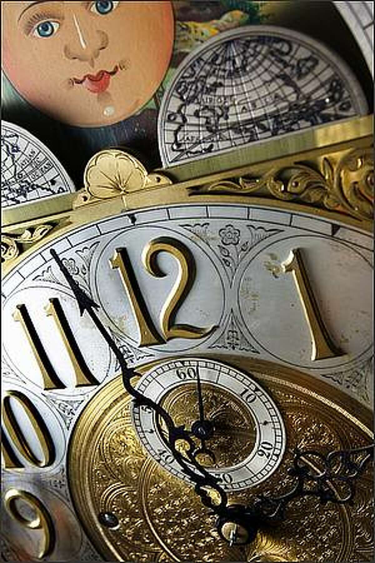 A Colonial grandfather clock moves with the rhythm of time, its minute hand having completing its orbit 24 times a day for over a hundred years. The clock sits in A House of Clocks repair facility in Lynnwood, Wash. after a complete overhaul.