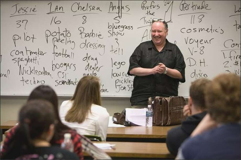 "South Seattle Community College writing instructor Mike Hickey beat 12 competitors for the 2009 Poet Populist title. His aim? ""I want to spread poetry to the masses."" Photo: Paul Joseph Brown/Seattle Post-Intelligencer"