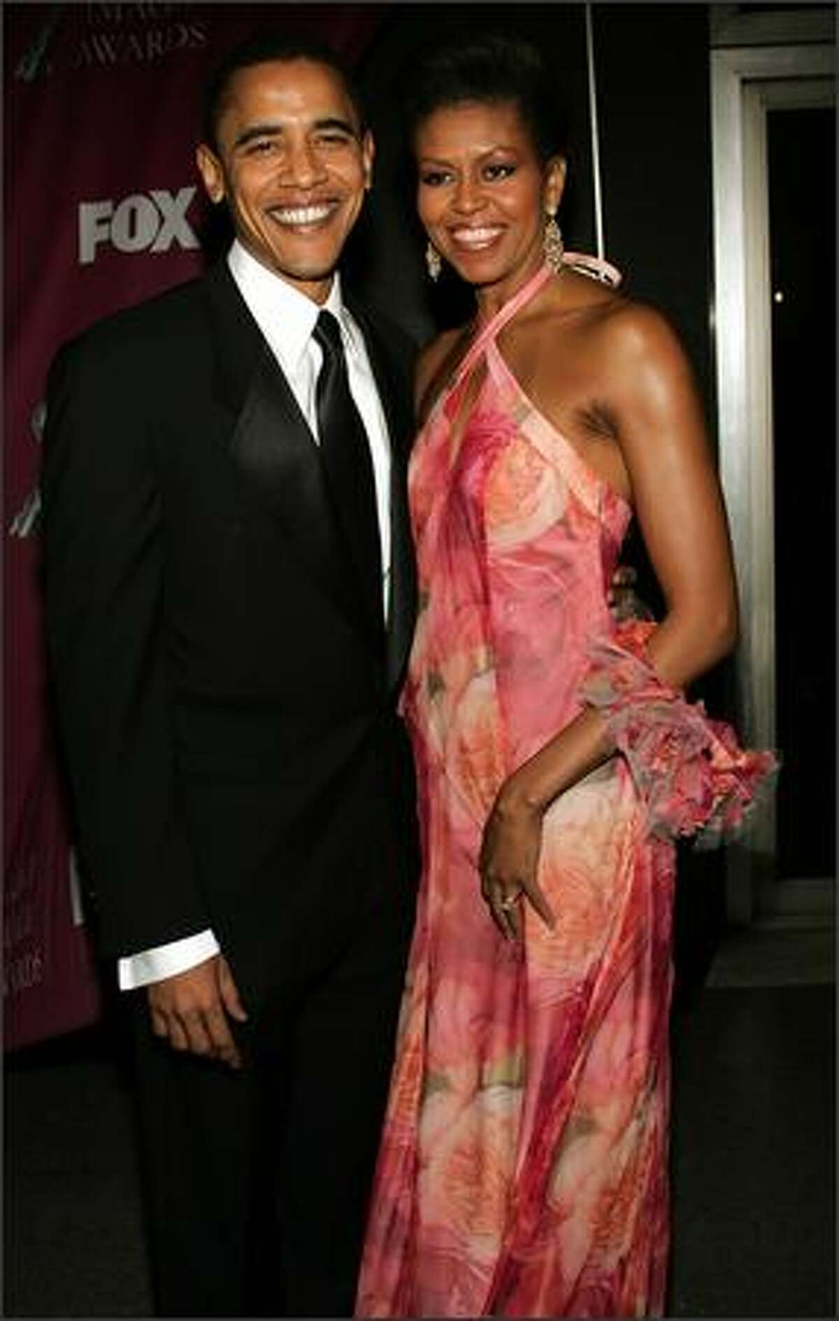 Senator Barack Obama and his wife Michelle arrive at the 36th NAACP Image Awards at the Dorothy Chandler Pavilion on March 19, 2005, in Los Angeles, California.