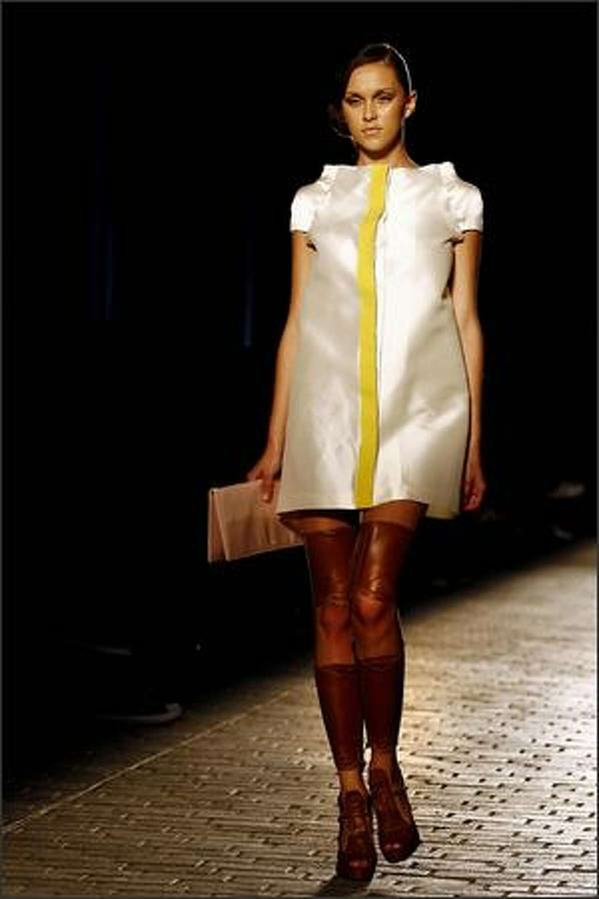 A model presents a creation of Greek designer Elena Strongyliotou during the Greek fashion week in Athens.