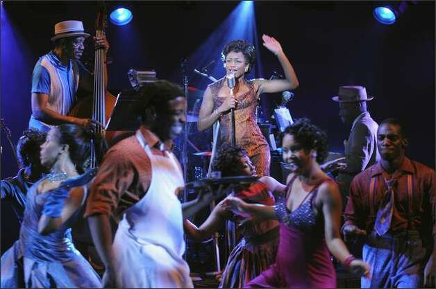 "Montego Glover is in the spotlight as Felicia at Club Delray in ""Memphis,"" which brings the early days of rock 'n' roll to the 5th Avenue. Photo: Kevin Berne"