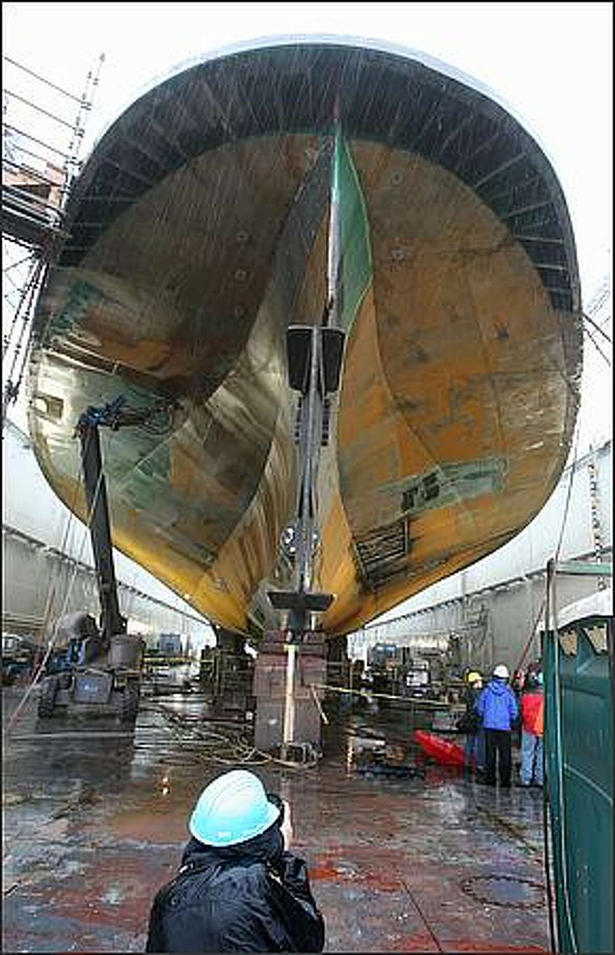 The hull of the Quinault in dry dock at Todd Shipyards. after it was pulled out of service. December 3, 2007.