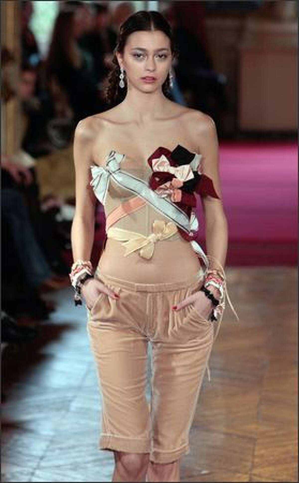 A model presents a creation by French designer Alexis Mabille during his Spring/Summer 2009 Haute Couture collection show in Paris.