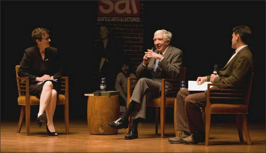 John Updike, center, with Patricia Junker, Curator of American Art at the Seattle Art Museum, left, and author David Guterson at Seattle Arts and Lecture's event on Nov. 12, 2008. Photo: Libby Lewis