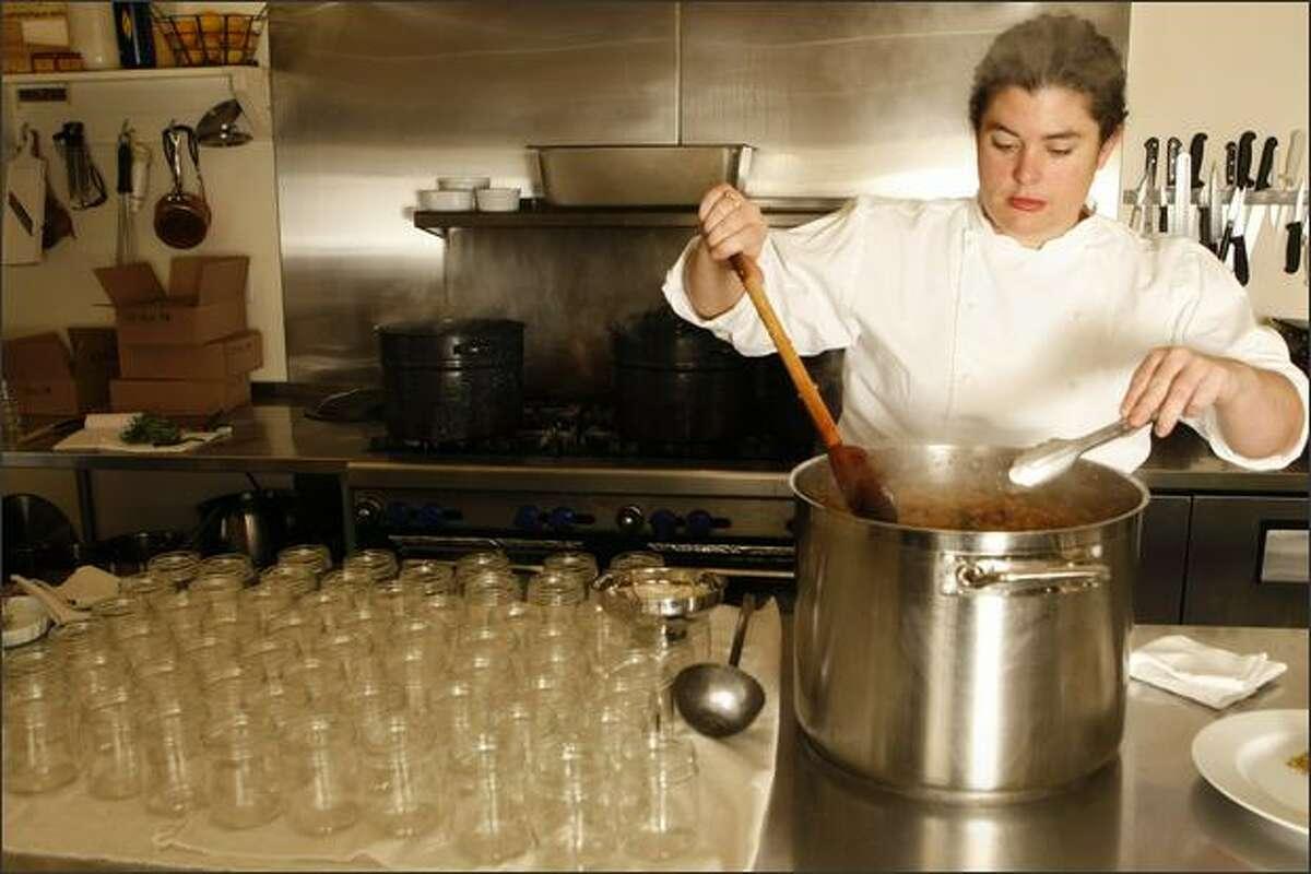 Renee Erickson pickles raisins at her restaurant, Boat Street Cafe in 2009.