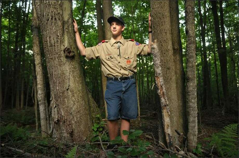 "New York Boy Scout Jesse Owen says that Cedarlands Scout Reservation was ""ruined"" by logging. Photo: Hearst Newspapers"