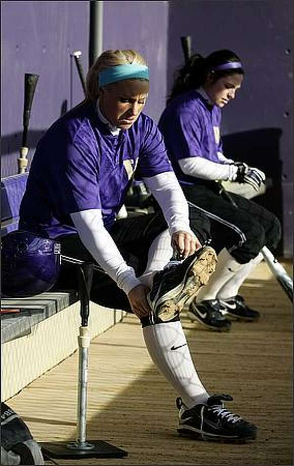 Danielle Lawrie gets ready for team practice. Photo: Andy Rogers, Seattle Post-Intelligencer