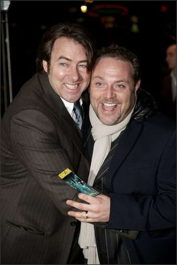 "Jonathan Ross (L) and John Thompson attend the UK premiere of ""Watchmen"" at the Odeon, Leicester Square in London, England. Photo: Getty Images"