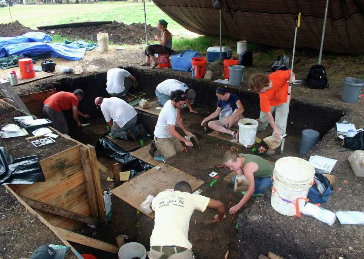 Scientists work at the Debra L. Friedkin site, about 50 miles north-northwest of Austin along Buttermilk Creek, where the trove of some 15,000 stone artifacts was found.