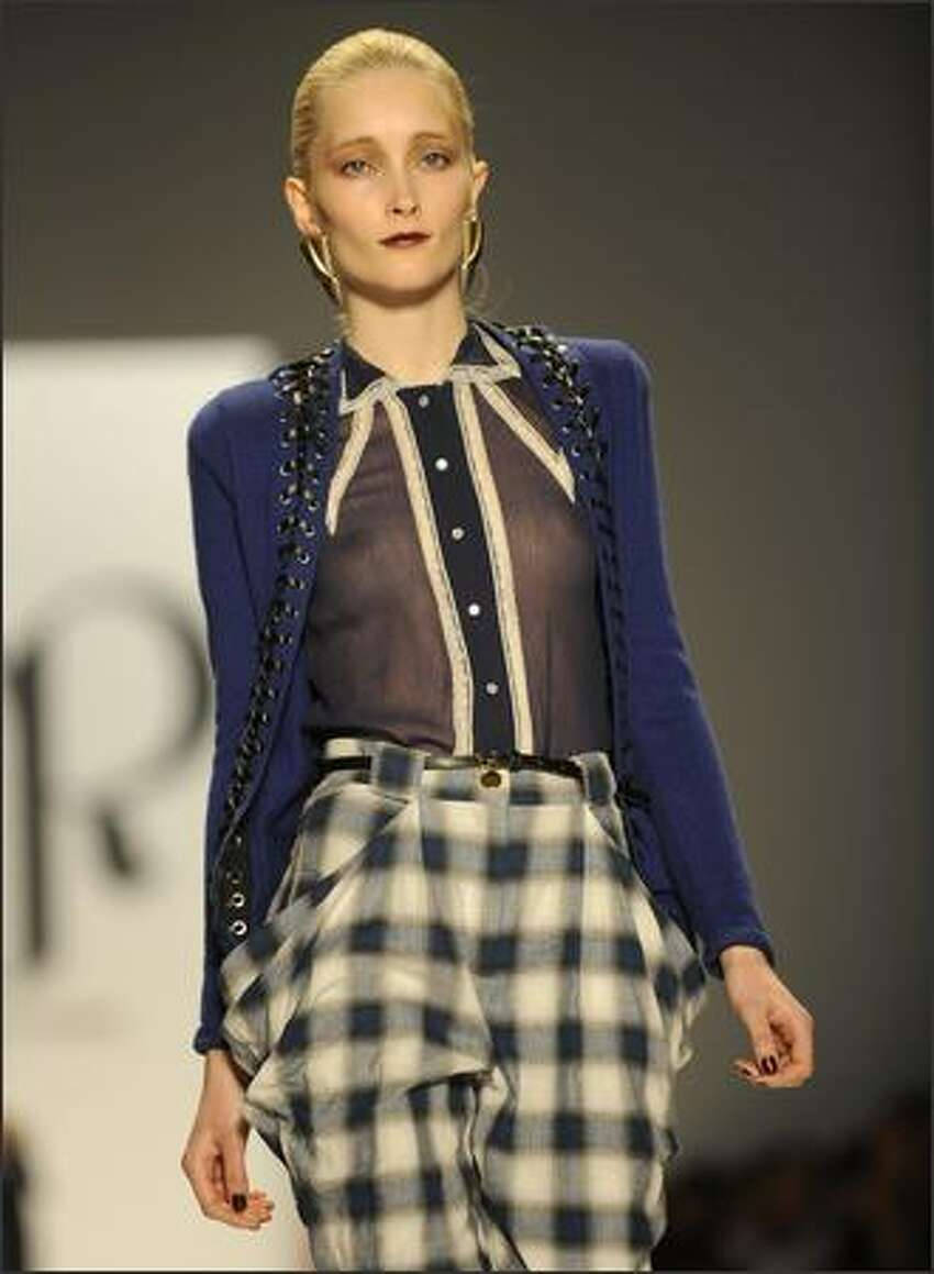 A model displays a fashion of Charlotte Ronson during the 2009 Mercedes Benz Fashion Week in New York On Friday.