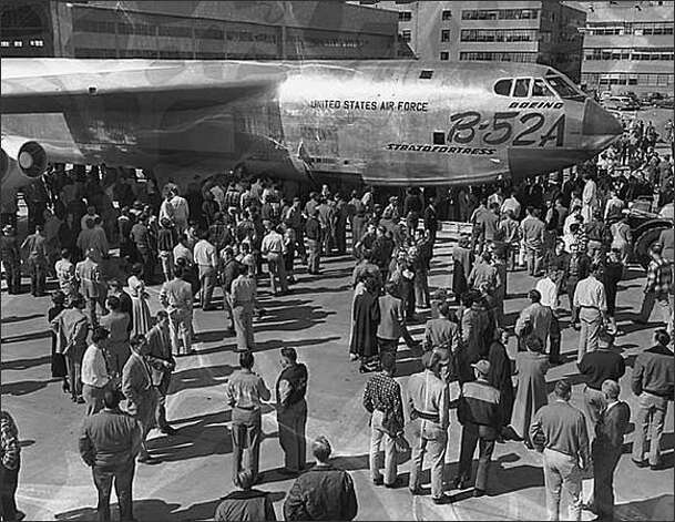 Boeing shows off its first production B-52A in 1954. Photo: Seattle Post-Intelligencer Collection,  Museum Of History & Industry 1986.5.180 / SL