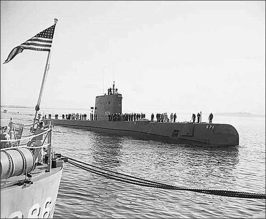 Atomic submarine USS Nautilus in Seattle, 1957. (Seattle Post-Intelligencer Collection, Museum of History & Industry 1986.5.13824.1) Photo: Museum Of History And Industry