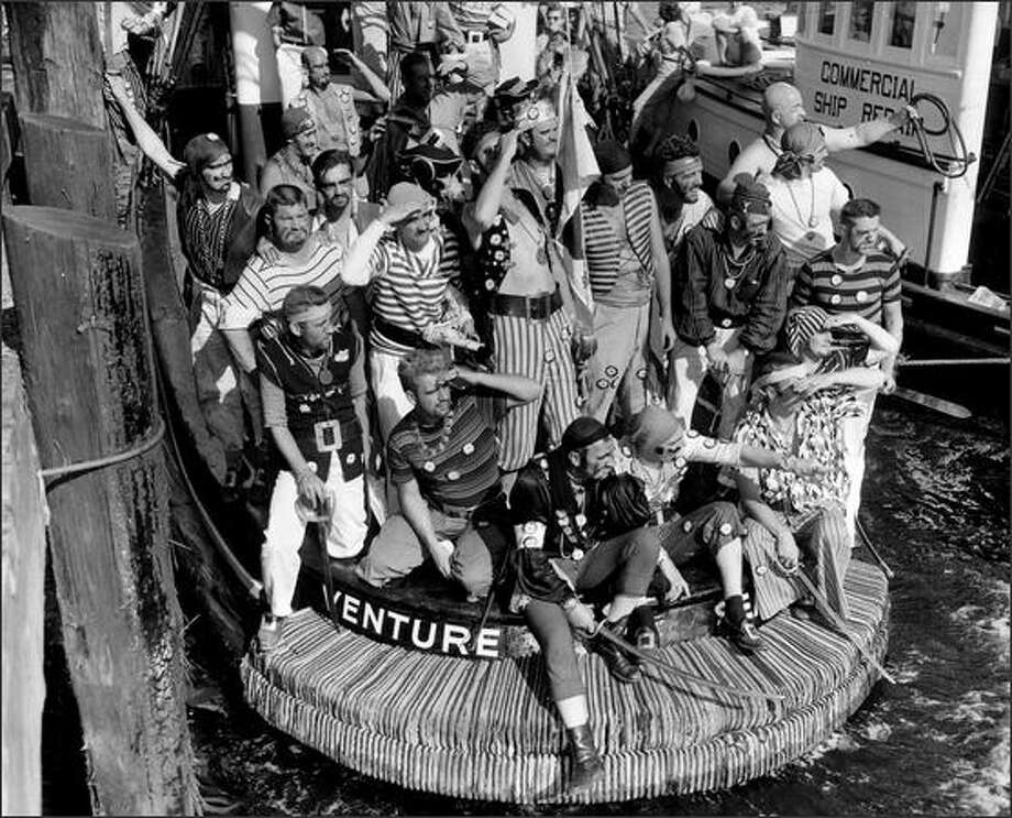 Seafair Pirates, Aug. 4, 1957. (Seattle Post-Intelligencer photo) Photo: Museum Of History And Industry