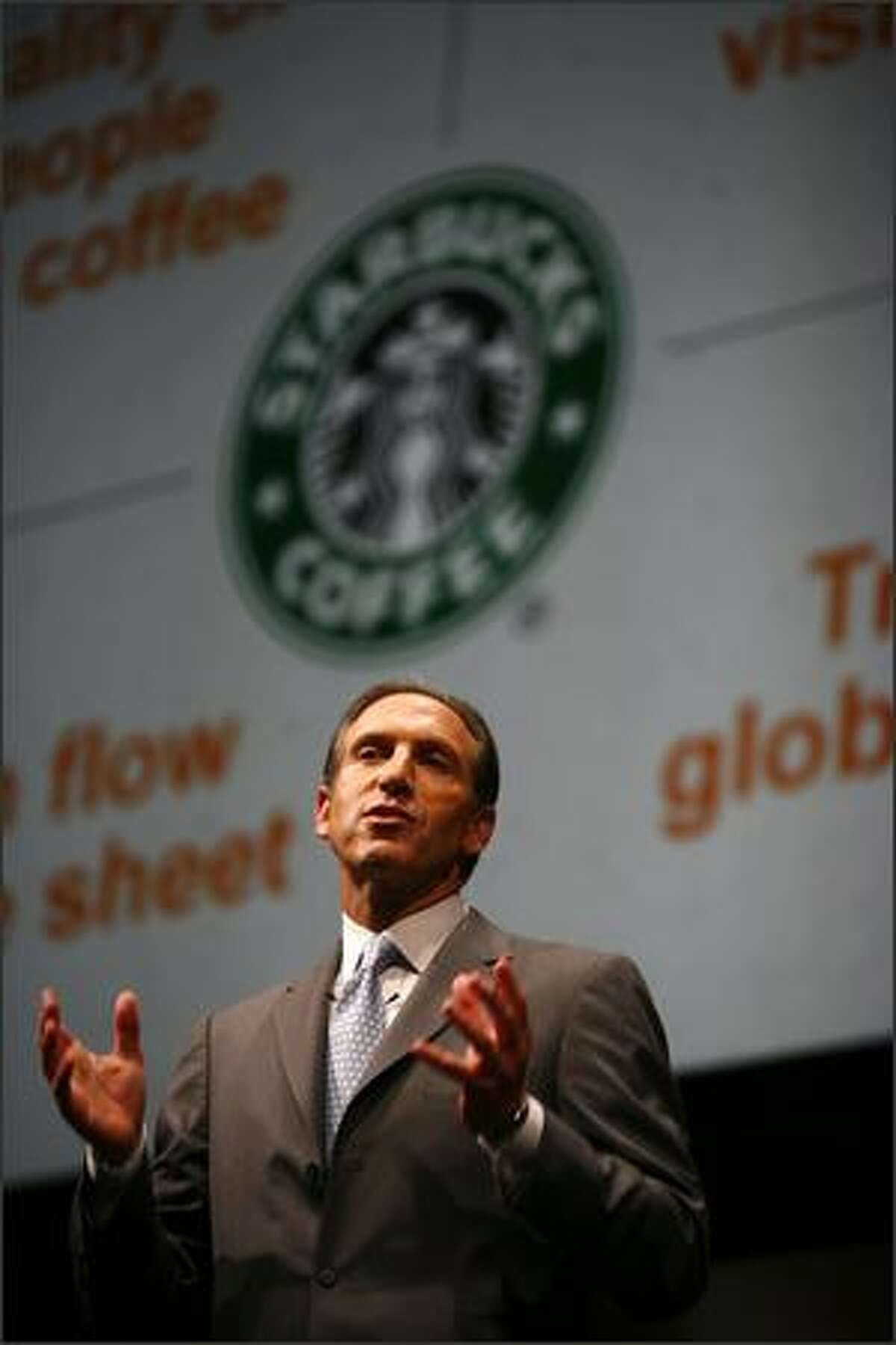 Starbucks CEO Howard Schultz speaks.
