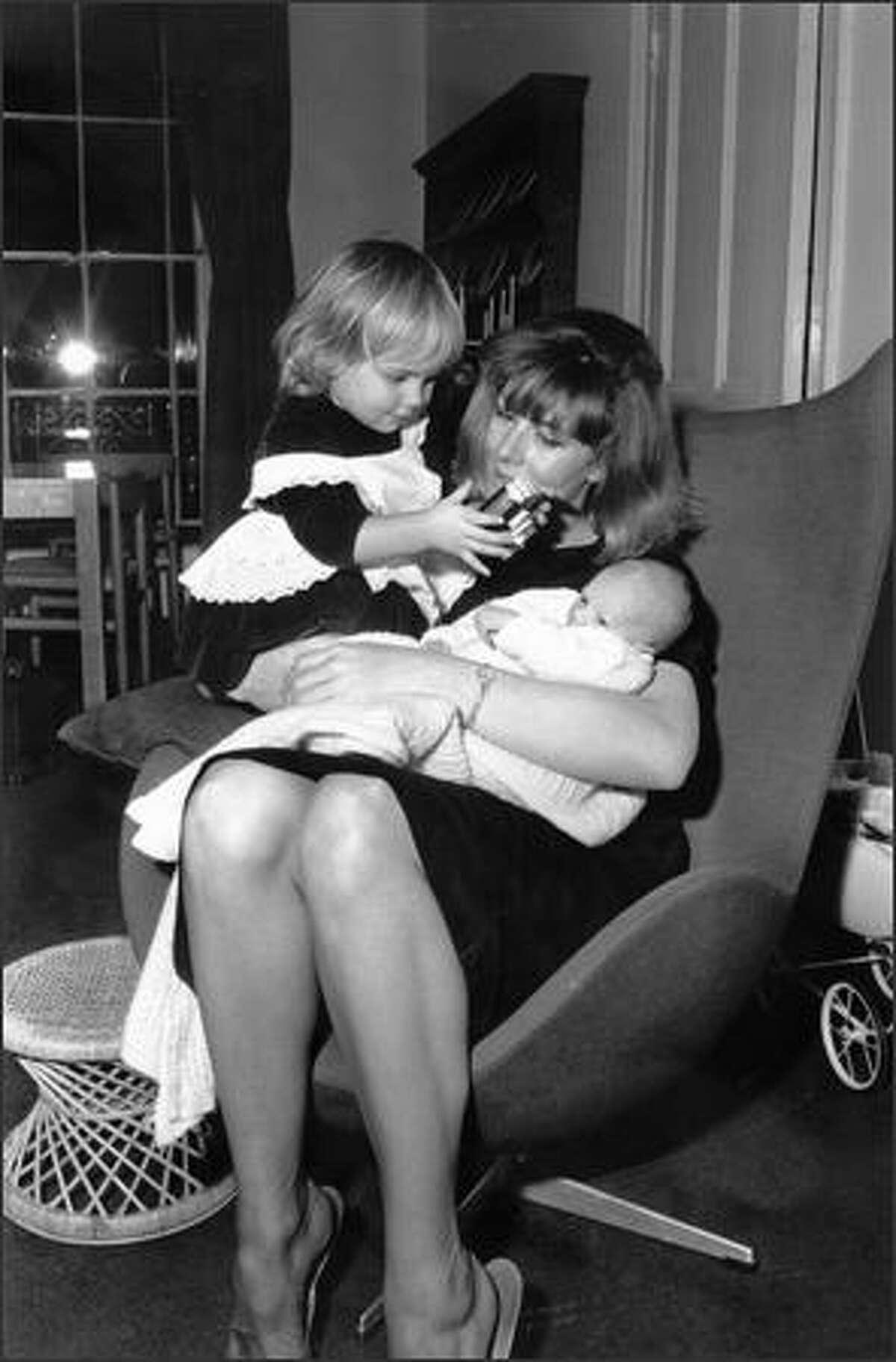 Jan. 19, 1965: English actress Vanessa Redgrave, with her children, Natasha and Joely.