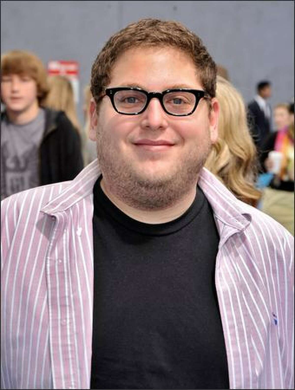 Actor Jonah Hill arrives at the premiere of Dreamworks'