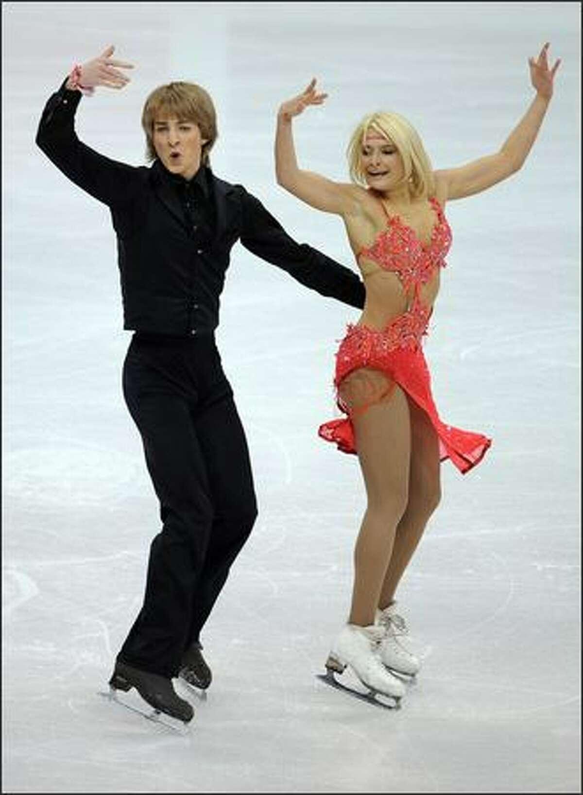 Ina Demireva and Juri Kurakin from Bulgaria compete during the original dance event.