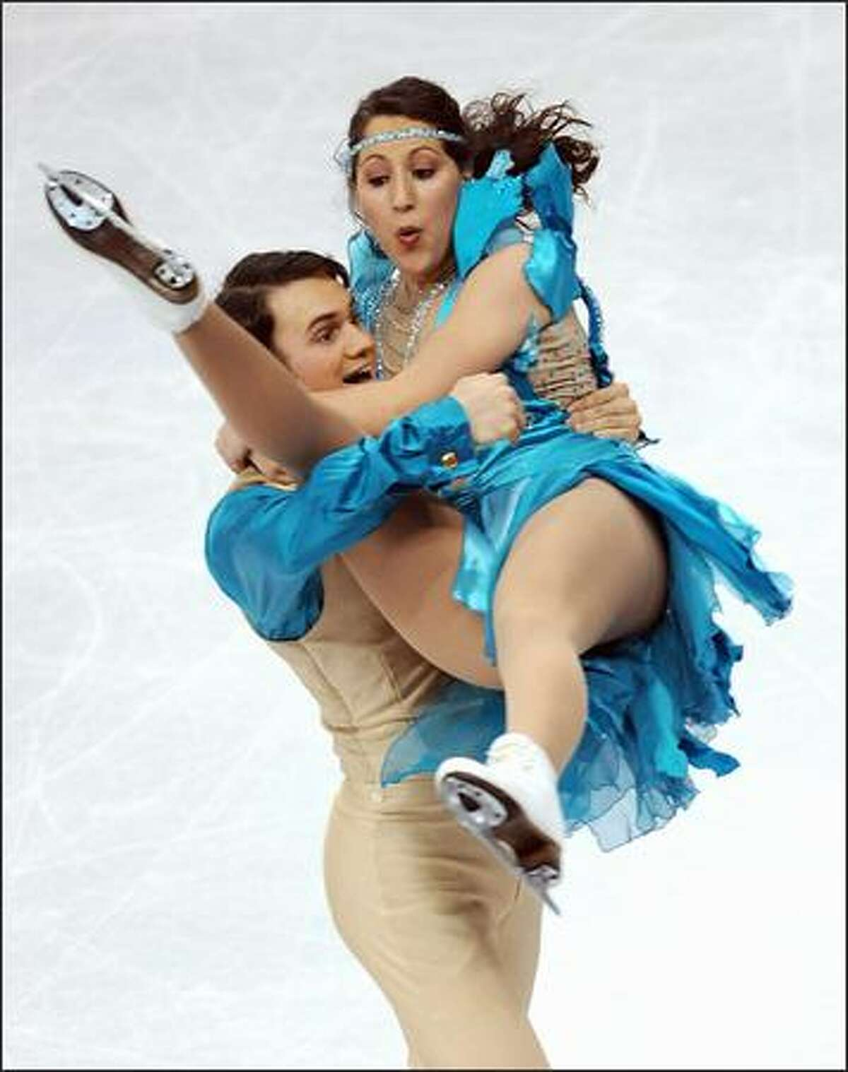 Nikki Georgiadis and Graham Hockley from Greece compete during the original dance event.