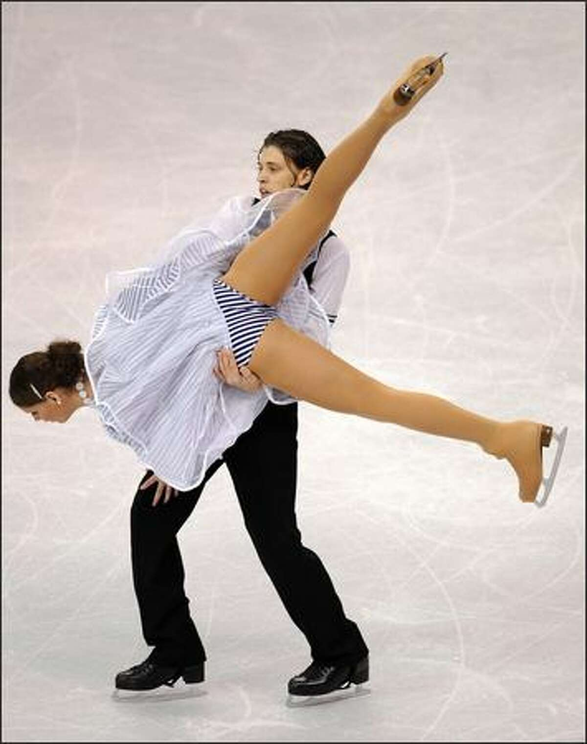 Emese Laszlo and Mate Fejes from Hungary compete during the original dance event.