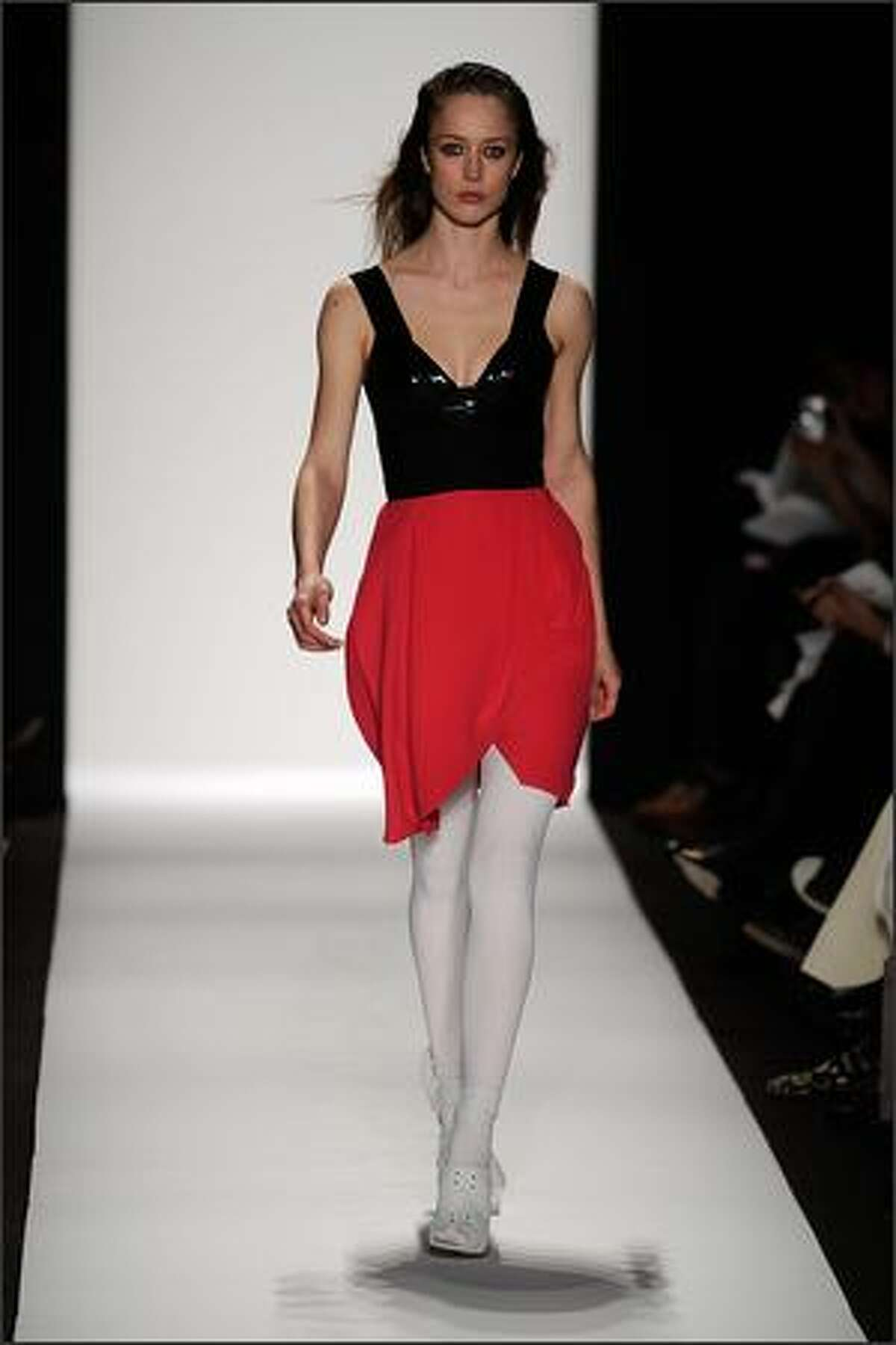 A model displays a creation by Narciso Rodriguez.