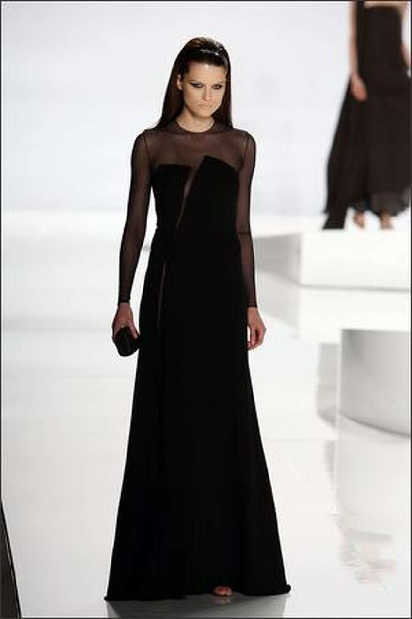 A model walks the runway at the Chado Ralph Rucci Fall 2009 fashion show during Mercedes-Benz Fashion Week in the Tent at Bryant Park in New York City.